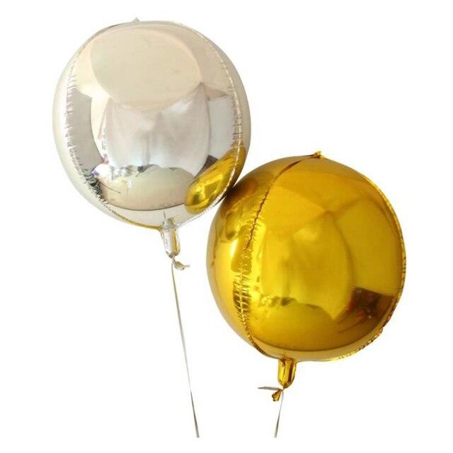 20 pcs 10 polegadas 4D Dimensional Subiu Folha de Ouro Prata Metálico Balões de Casamento Festa de Aniversário Decoração de Hélio Inflável Globos de Abastecimento
