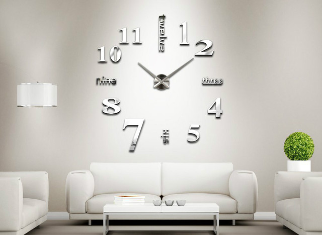 Meya Home Decoration Big Clock Digital Mirror Wall Clock Modern