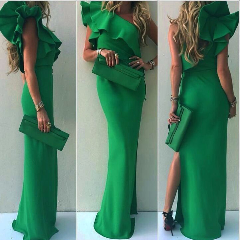 Ermonn Women Dress 2017 Summer Fashion Long Dresses Ruffled Neck Sexy Sleeveless Slim Solid Sheath Floor Length Dresses