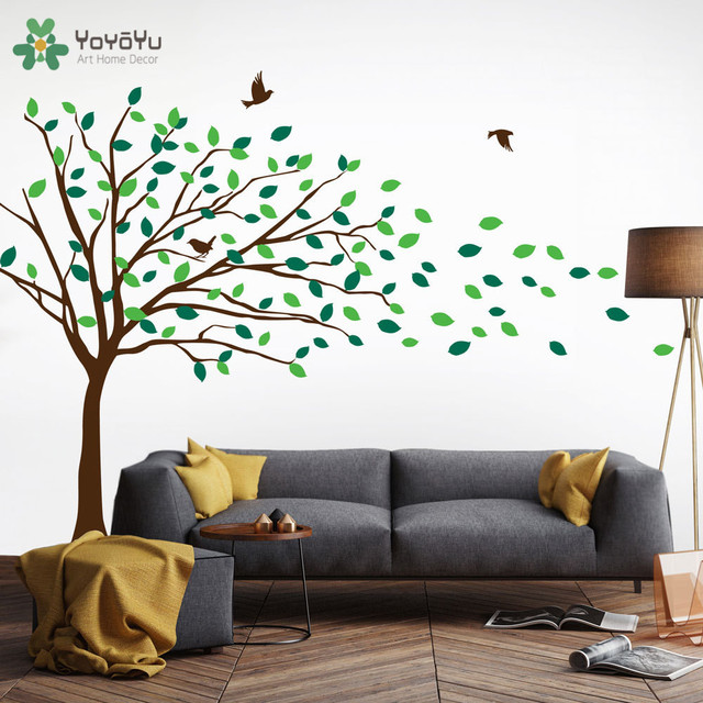 Kids Nursery Wall Decal Tree Pattern Vinyl Wall Stickers For Kids Rooms  Blowing Tree Art Mural