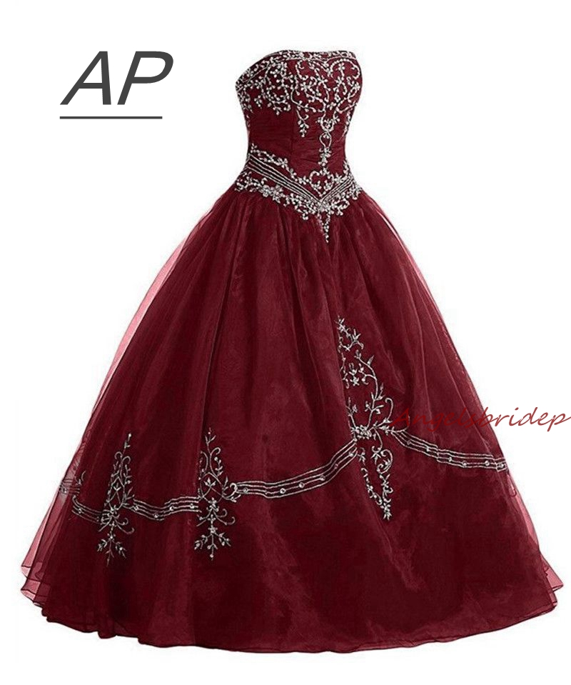 ANGELSBRIDBEP Burgundy Quinceanera Dresses 15 Years Fashion Embroidery Debutante Gowns Special Occasion Party Gown Plus Size