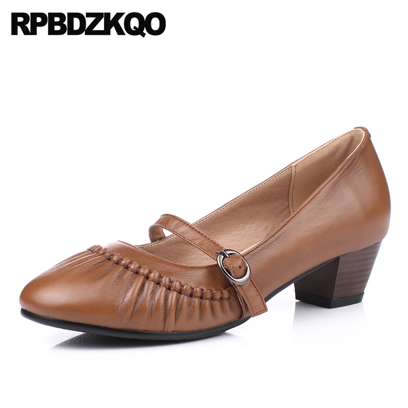Belts Pumps Brown Medium Heels Handmade Genuine Leather Women Shoes Retro Mary Jane Strap 2018 Block Round Toe Vintage Size 4 34 sandals metal strap pumps square toe beige vintage medium 2017 women shoes high heels size 33 slingback belts block chinese