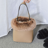 Fur Handbags Winter Top Hand Pu Leather Shoulder Bag High Quality Bolsos Mujer Bucket Bags Cute Japan Small Tota