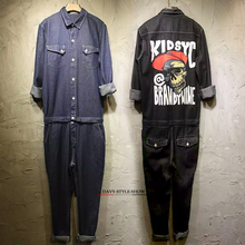 2016 spring&autumn Men&women skull jumpsuits hiphop denim jeans fashion work clothes cargo pants casual worker pants trousers