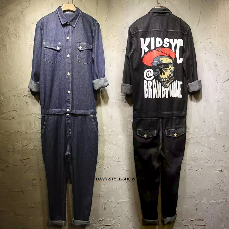 2016 spring&autumn Men&women skull jumpsuits hiphop denim jeans fashion work clothes cargo pants casual worker pants trousers