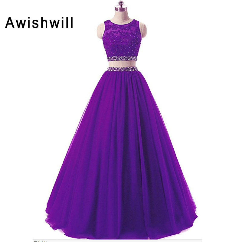 Gorgeous Prom Dresses Long Beading Tulle Open Back Floor Length Two Piece Evening Gown Party Dress Graduation Robe de Soiree