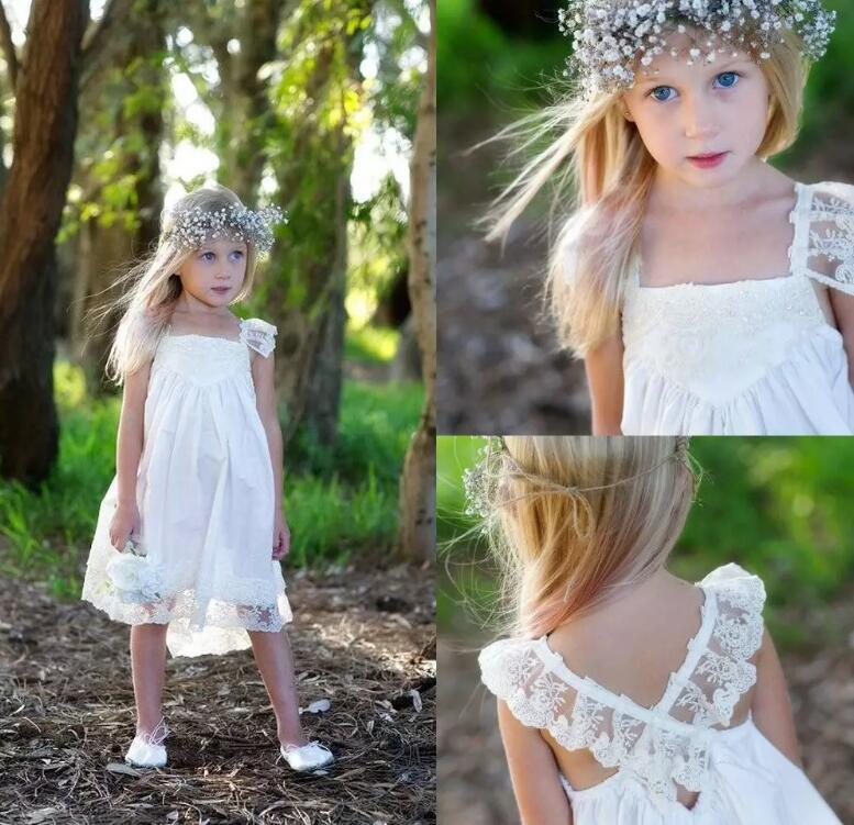Boho Flower Girl Dresses For Wedding With Lace Spaghetti Strap Criss Cross Back Tea Length Girl Pageant Gown