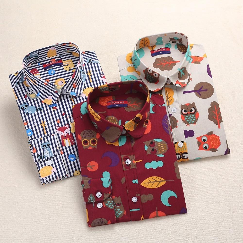 Dioufond 2018 Animal Print Shirts Women Cotton Blouses Floral Ladies Tops Long Sleeve Female Clothes Plus Size 5XL School Shirt
