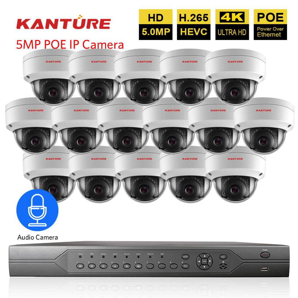 H 265 16CH POE CCTV NVR system 5MP IP66 VandalProof security In Outdoor IP camera Audio
