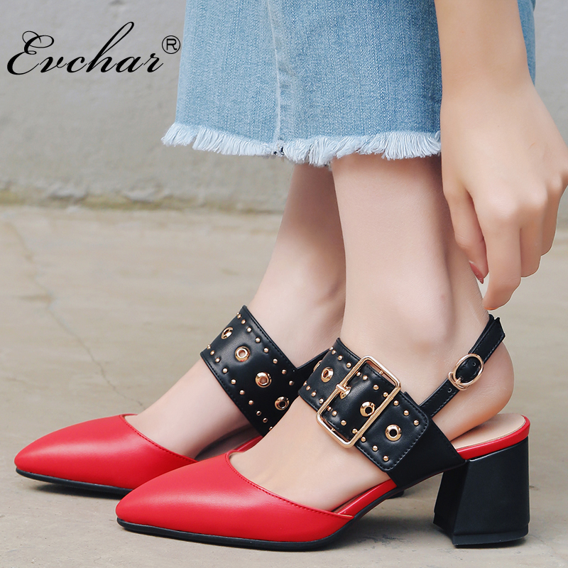 EVCHAR NEw fashion  Rivet Women Pumps pointed Toe Chunky Heels Sandals Women mixed colors Sandal  Summer Shoes big size 32-43 beango 2018 new fashion women high heels pointed toe striped pumps mixed colors rivet stiletto party wedding shoes woman
