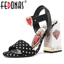 FEDONAS Fashion Vintage Ethnic Round Toe Super High Heels Women Sandals 2019 Summer New Genuine Leather Wave Point Print Shoes(China)