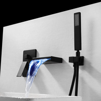 Wall Mounted Bathroom Set Bathtub Faucet Black Bath LED Waterfall Bathtub Tap