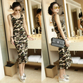 2016 New summer sleeveless camouflage print long women tank dress novelty cotton casual slim beach wear woman tunic army green