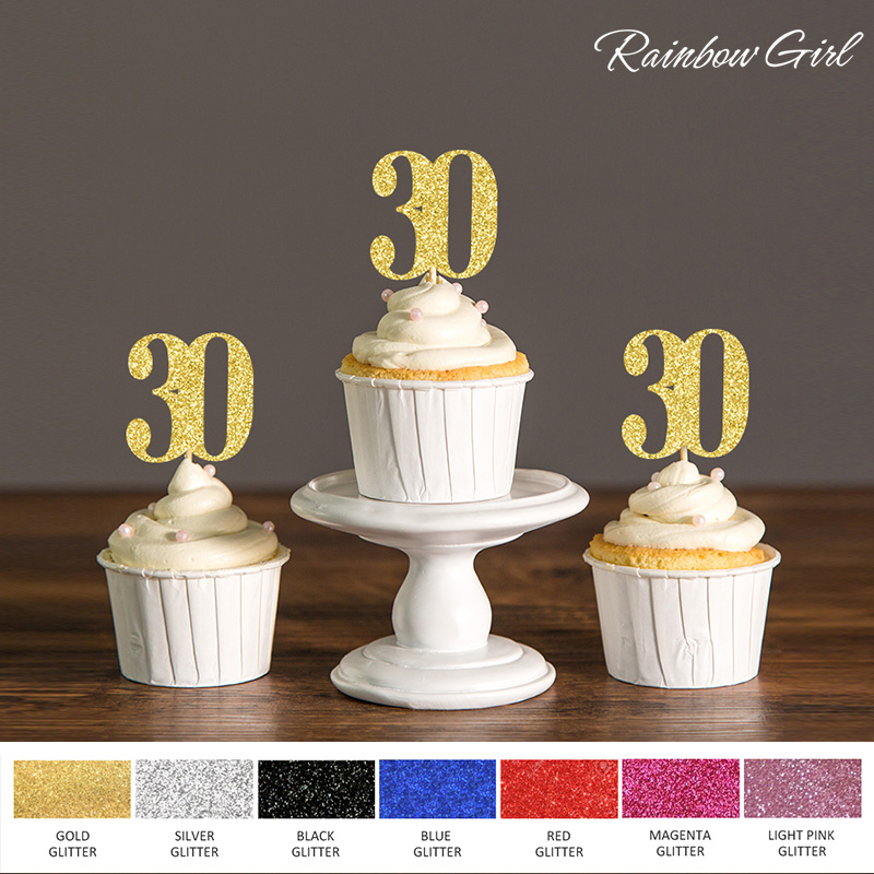 Thirty Birthday Decorations,30th Cupcake Toppers Food Picks,Anniversary Party Decor Black and Gold,Silver Glitter Cake Accessory ...