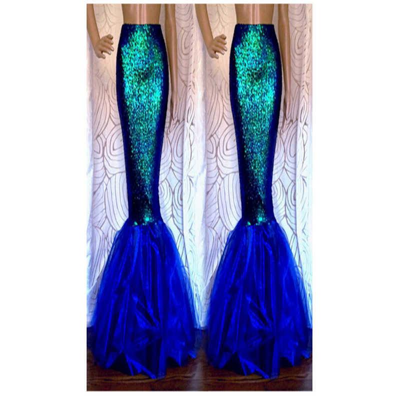 แฟนตาซี Mermaid ผู้หญิง Party แฟนซียาว Maxi สำหรับคริสต์มาส Cosplay เครื่องแต่งกาย falda de fiesta
