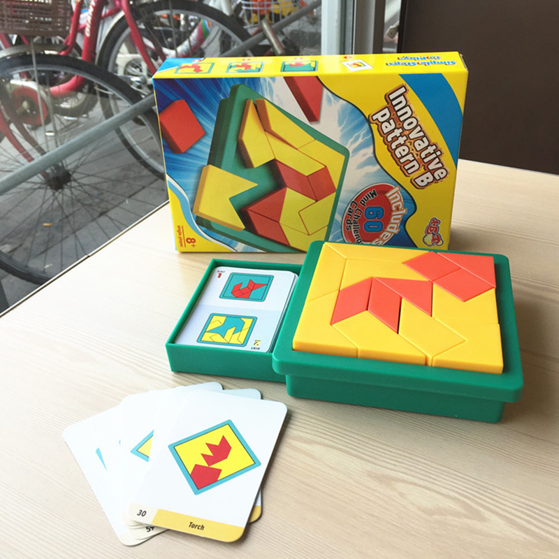 Educational toy funny Tangram Plastic puzzle pieces Tangram jigsaw puzzle board game logic for kid Children IQ Brain Teaser Y07