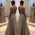 Vestidos De Noite Para A Festa Sexy Prom Dresses 2017 Deep V Neck Evening Dress Long Front Split Sparkly Bodice Party Gowns
