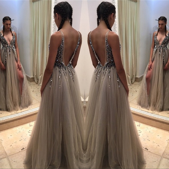 c5ebce15a25 Vestidos De Noite Para A Festa Sexy Prom Dresses 2017 Deep V Neck Evening  Dress Long Front Split Sparkly Bodice Party Gowns