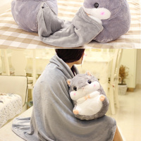 Home Decoration Bedding Coral Wool Blanket Office Travel Cushion Blankets Birthday Gifts Cute Hamster Hold Pillow