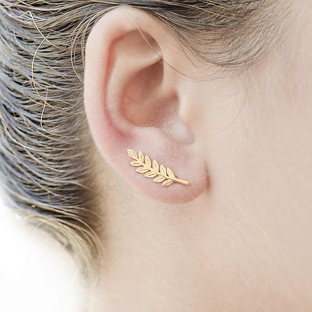DoreenBeads Girls Women Stud Earrings Leaf Ear Climbers Ear Crawlers gold color /dull silver color 20mm x 7mm 1 Pair 2017 New