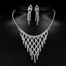 Classic Costume Design Fashion Crystal Wedding Bridal Jewelry Sets Sexy Reticulated Necklace Drop Earring Copper Alloy