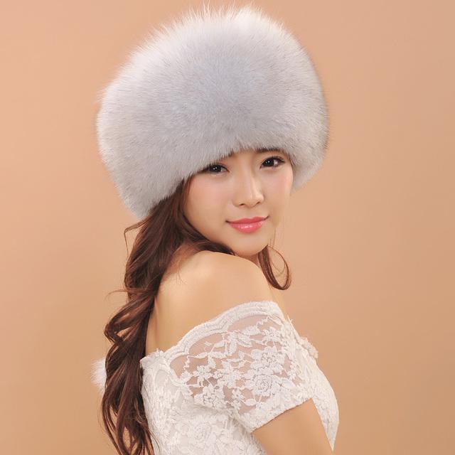 2016 New Arrival Mulheres Beleza Headwear Quente Tampão do Inverno de Couro de Pele De Raposa Para Senhoras