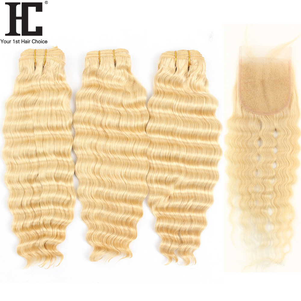 HC 613 Blonde Bundles With Closure Brazilian Loose Deep Wave 3 Bundles With Closure Remy Human Hair Weave Bundles With Closure image