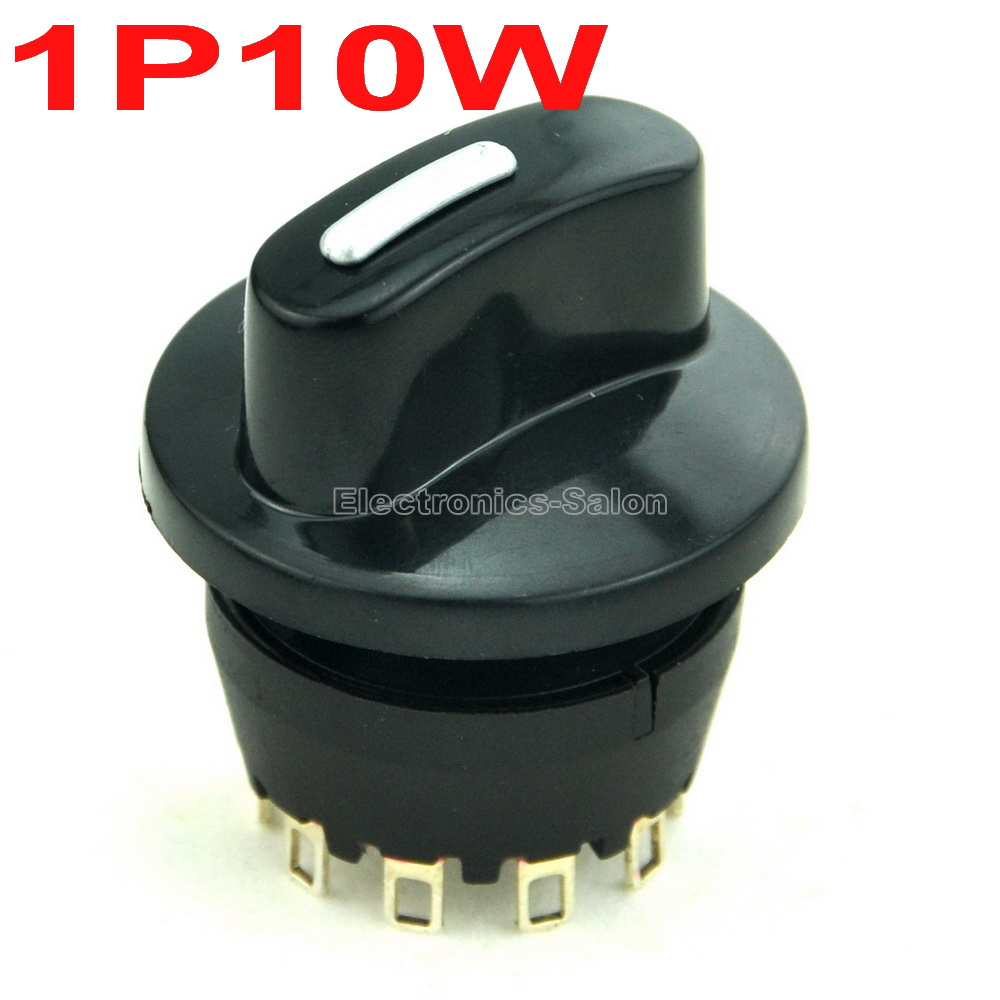 SP10T 8A/250V 1 Pole 10 Way Rotary Switch, With Knob.