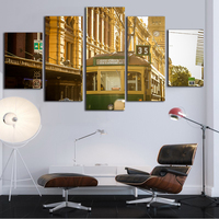 Vintage Bus Canvas Paintings 5 Pieces Canvas Art Wall Pictures For Living Room Frameless Poster And