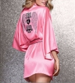 2016 New Sexy Secret Women Pink Bathrobe Soft Silk Slip Satin Robes for Pajamas Party Hot Diamond Feminino Night Gown Show