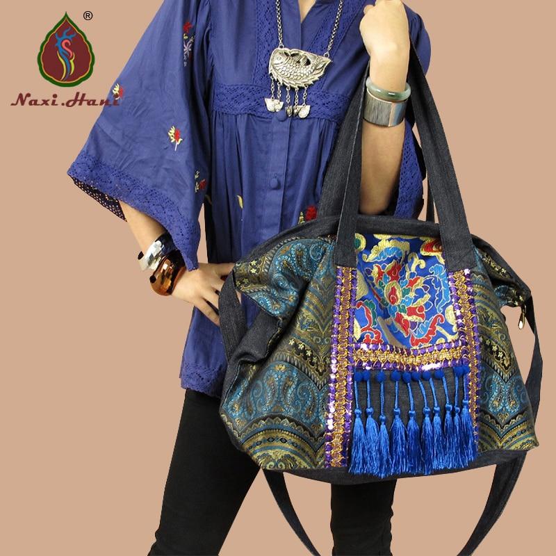 Hot sale Naxi Hani Original Ethnic handmade embroidered shoulder bags Vintage blue denim tassel lagre casual