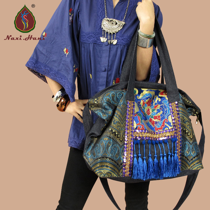 Hot sale Naxi.Hani Original Ethnic handmade embroidered shoulder bags Vintage blue denim tassel lagre casual messenger bags original ethnic embroidered women handbag vintage handmade tassel shoulder bags black canvas casual large bags