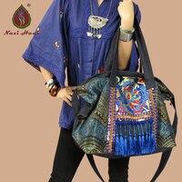 Hot sale Naxi.Hani Original Ethnic handmade embroidered shoulder bags Vintage blue denim tassel lagre casual messenger bags