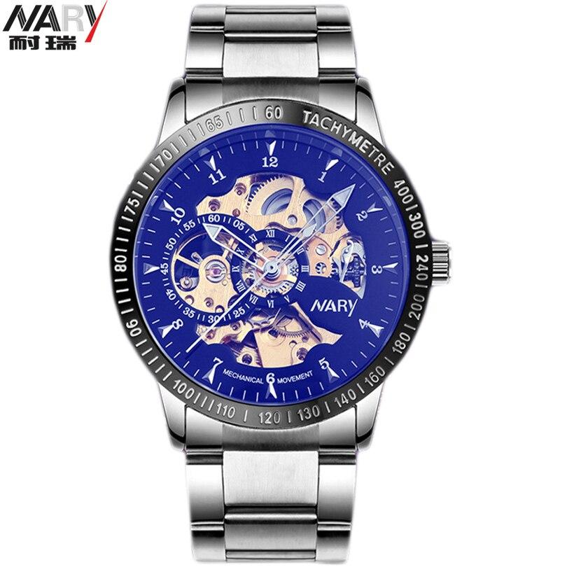 Prix pour NARY Noir Squelette Conception Bleu Gravure Horloge Hommes Bracelet En Cuir Hommes Montres Top Marque De Luxe Montre Automatique Homme Montre Homme