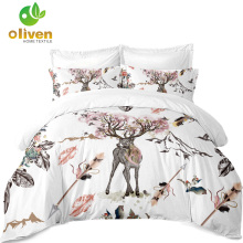 3Pcs Feathers Printo Set Bedding, Outlet Soft Soft Bedding, Dreamcatcher Duvet Cover Mbulesa të bardha dyshekësh / E plotë / Mbretëresha / Mbreti A25