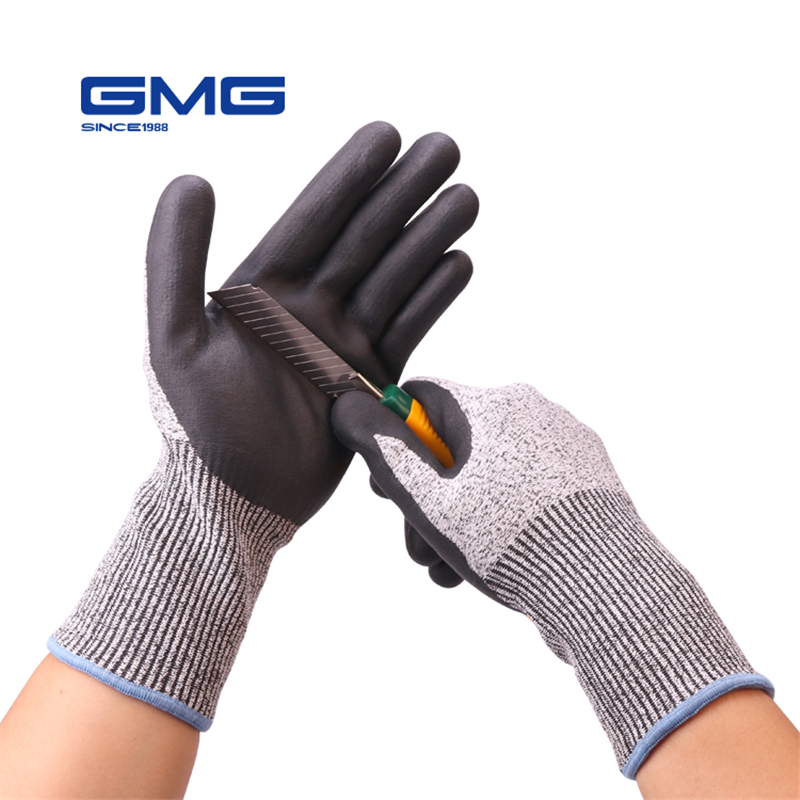 Safe Work Tool GMG Grey Anti-cut HPPE Shell Black Nitrile Foam Coating Work Safety Gloves Cut Proof Gloves anti cut resistant ansi cut 4 work glove en388 level 5 hppe liner with micro foam nitrile coating working safety glove 40pairs