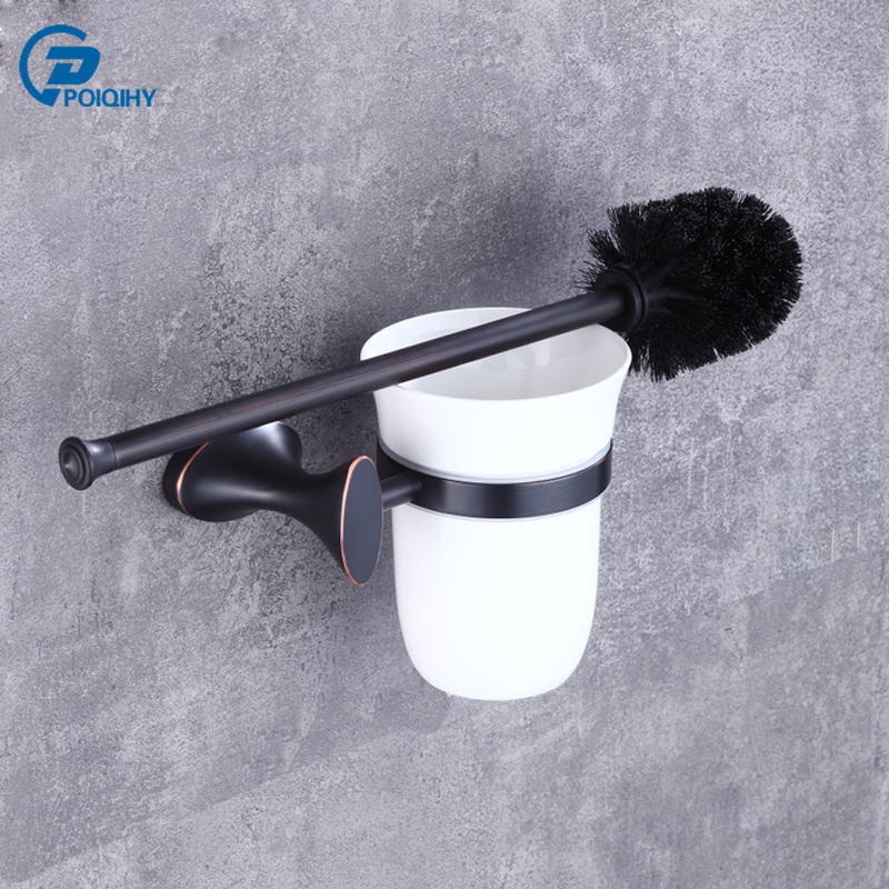 POIQIHY Solid Brass ORB Oil Rubbed Bronze Toilet Brush Holder Ceramic Cup Bathroom Accessories Wall Mounted Toilet Brush Set bathroom toothbrush cup holder double ceramic cup solid brass cup holder oil rubbed bronze