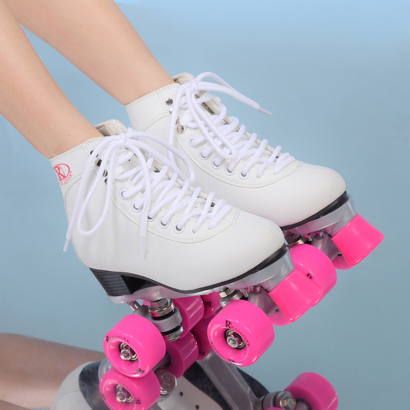 Double roller skates roller skating 4 wheels pulleys shoes  women's  polyurethane pink wheels  white shoes free shipping hot sale free shipping children s roller skates pink and blue color