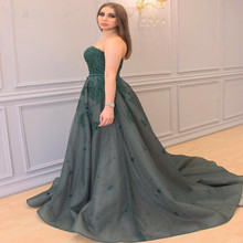 2017 Green Evening Prom Dresses A Line Dubai Sweetheart Ruffle Dress Women Special Occasion Dress African Formal Party Gown EG12