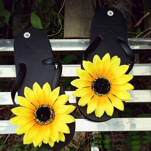 New Original Cute Summer Slippers Sandals Shoe Flip with Fresh Sun Flower Daisy Flat Sand Beach Slippers Handmade