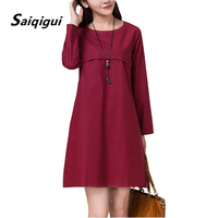 Saiqigui 2017 Summer Dress Long Sleeve Women Dress A Line O Neck Casual Loose Cotton Linen