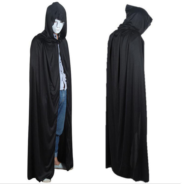 1pcsset halloween decorations black costume theater prop death hoody cloak devil long mantle wizard - Vampire Halloween Decorations