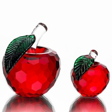 Chirstmas Tree Hanging Ornaments 40mm/60mm Crystal Glass Red Apple Miniature Figurine Natale Home Decor Figurines Crafts Gifts