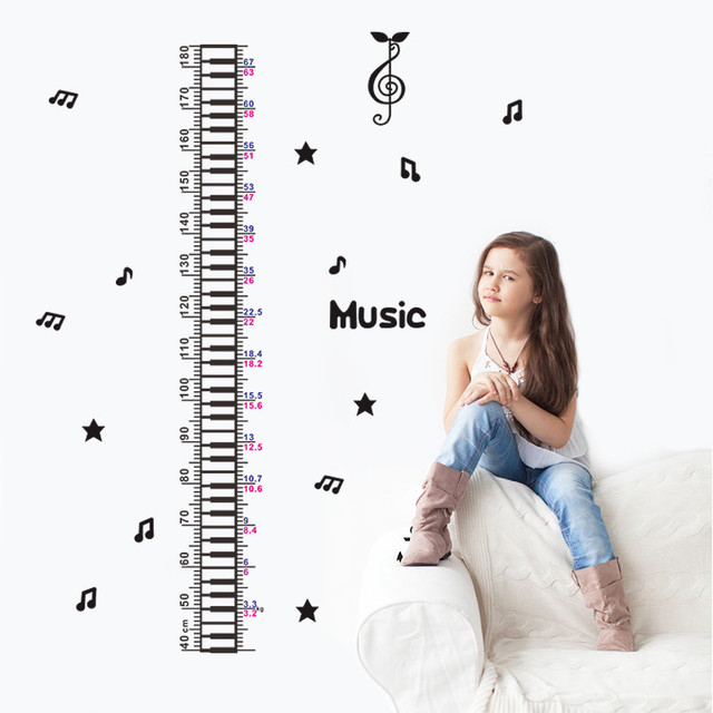 US $5 71 |Relax Music Notes Height Measure Chart Wall sticker For kids  Rooms Children Wall Decals Cartoon wall decals home decor-in Wall Stickers  from