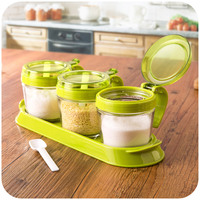 With A Base Capped Glass Cruet Seasoning Cans Three Piece Fitted Kitchen Seasoning Box Condiment Box