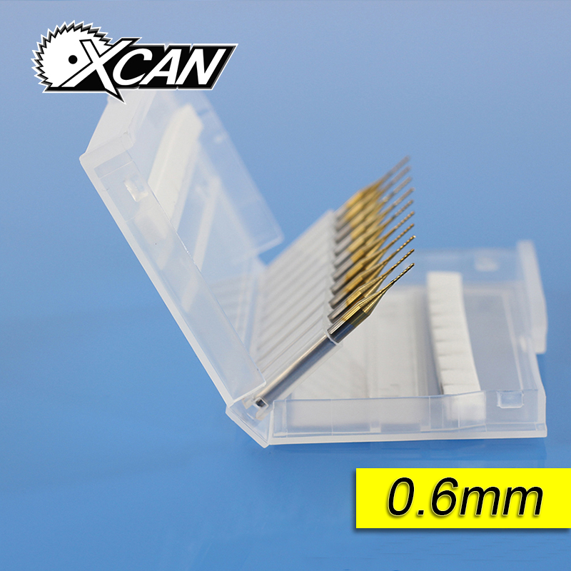 XCAN 0.6mm Titanium Coated End Mill Carbide Milling Cutter Router Bits CNC End Mills 10pcs 10 x 30 degree 0 1mm titanium milling cutters coated carbide pcb engraving bit cnc router tool tip end mill