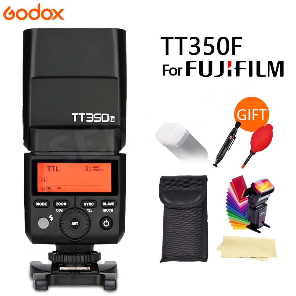 Godox TT350F for Fujifilm Mini Speedlite Flash GN36 TTL HSS GN36 TT350F High Speed 1/8000S 2.4G Wireless X System +Gift godox flash tt350f fuji ttl hss 2 4ghz 1 8000 s gn36 mini speedlite flash for fujifilm dslr camera free shipping