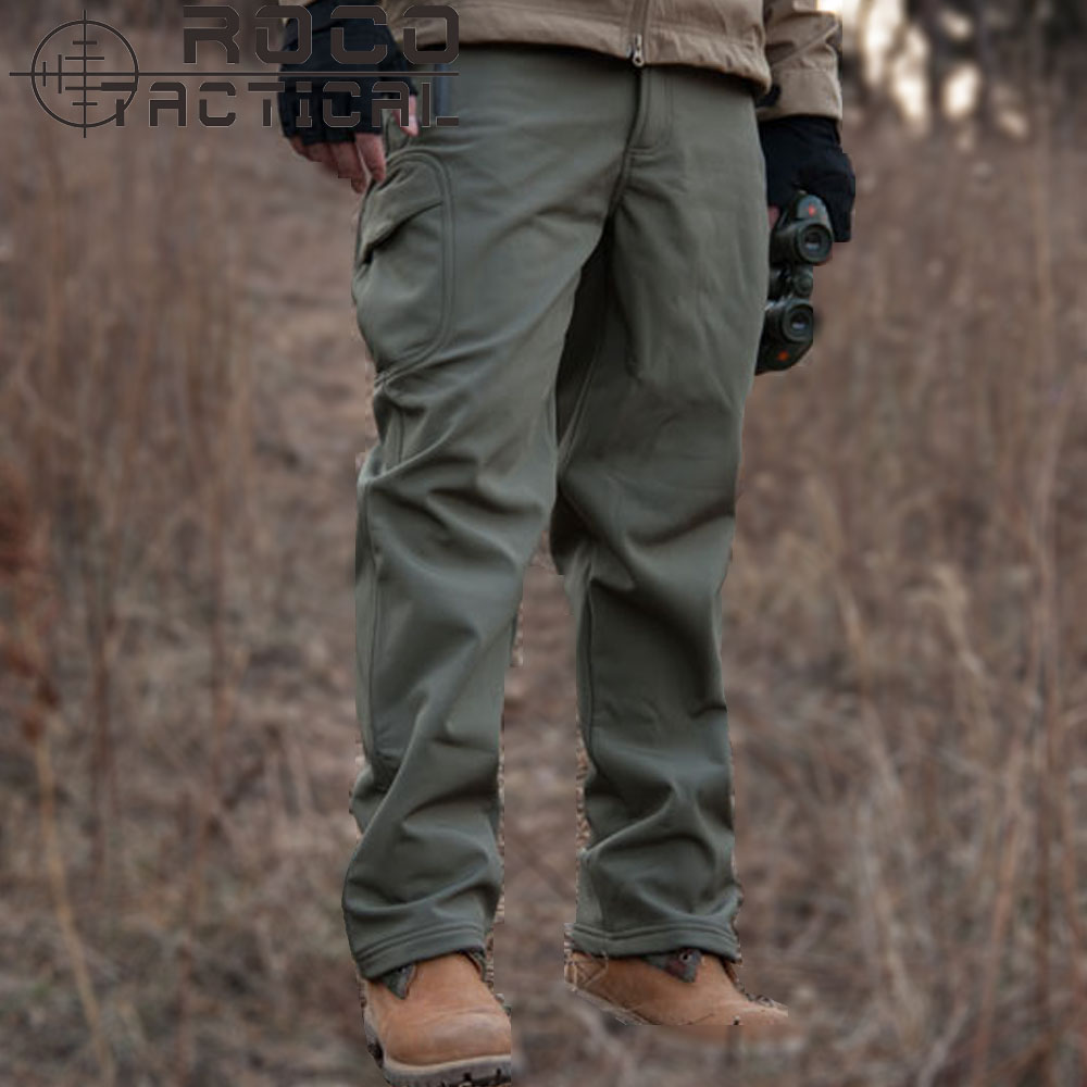 Mens Loose Windproof Thermal Fleece Hiking Pants Outdoor Sports Softshell Tactical Pants Military Camping Trousers Waterproof mens ripstop tactical pants outdoor camping water repllent hiking pants urban sports trousers army green
