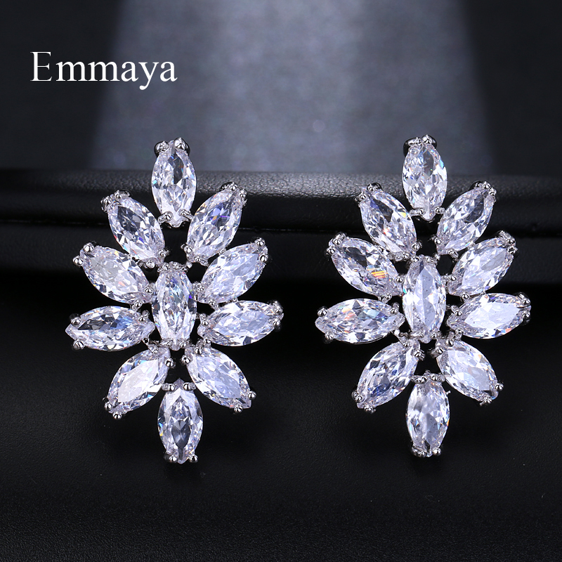 Emmaya Fashion Brand AAA Cubic Zircon Flower Shape  Earrings for Women White Blue Colors Crystal Wedding Jewelry Gift Brinco