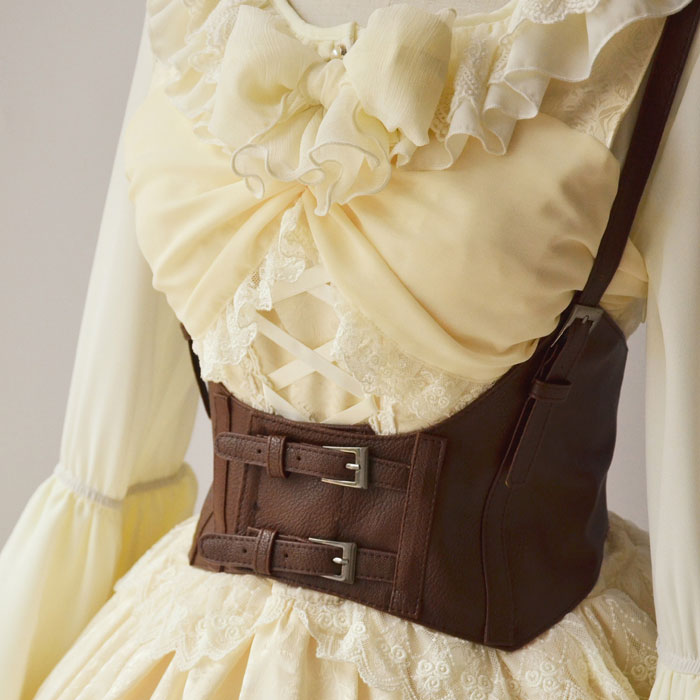 Vintage Women's Corset Vest Steampunk Harness Strechy Waistcoat Wide Cincher With Buckle